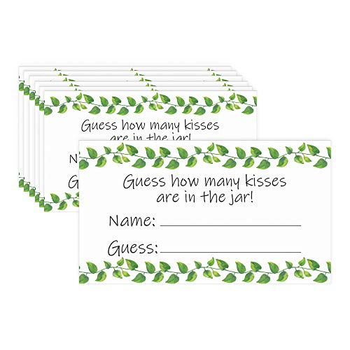 How Many Kisses Game - Greenery Theme (Extra Cards)