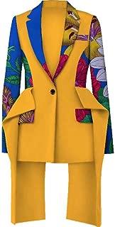 Womens One Button Ankara Blazer Notch Lapel Wax Print African Suit Jacket