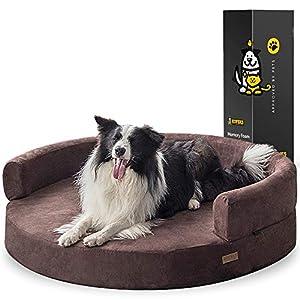 KOPEKS Sofa Redondo Cama Marrón para Perro Perros Mascotas Extra Grande XL con Memoria Viscoelástica Colchón Ortopédico 127 cm Diámetro - Round Lounge XL Brown