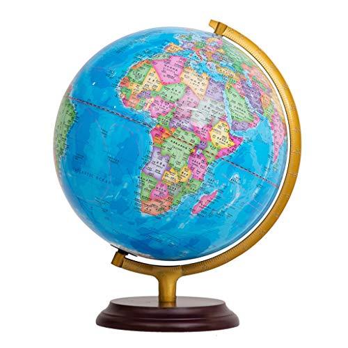 Desktop wereldbol HJCA hoge kwaliteit houten bal HD Teaching Study Decoratie Bureau Decoratie Chinees en Engels Tweetalige gift Creative Grootte: 42 * 32 cm Lerbenodigdheden, kantoor decoratie