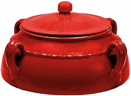 Nuova Colì - Salpicera de cerámica con tapa para horno, microondas, cacerola de coco, terracota