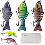 Fishing Lures, CDYKLCB Lifelike Fishing Lures Bass Lures Set Multi Jointed Swim Baits Slow Sinking Hard Lure Fishing Tackle Kits with a Tackle Box for Freshwater Saltwater