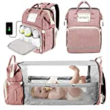 3 in 1 Diaper Bag Backpack with Bassinet Bed Mat Pad,Portable Travel Convertible Bags Newborn Registry Baby Shower Gifts Essentials Accessories Stuff for Girls Boys Men Dad Mom Pink