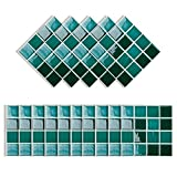 Elinala Stick on Tiles, Self Adhesive Wall Tiles, 30 PCS (10 x 10CM) Durable Waterproof Mosaic Decorative Self-Adhesive Tile Wall Stickers for Bathroom, Kitchen, Living Room
