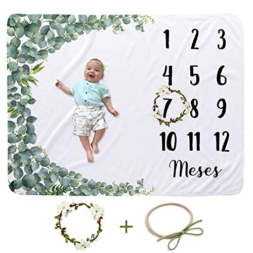 CBOO Manta Mensual de Hito Suave Manta Fotografia Unisex Manta Meses Personalizada Regalos originales para Bebés Recien Nacidos (Hoja: 130cm * 100cm)