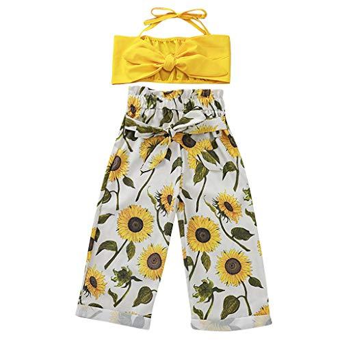Tenues pour Filles Fêtes d'été PAOLIAN Débardeurs pour Filles épaules dénudées et Pantalons Longs Fille Robe Imprimé Tournesol Filles Vêtements Bébé Décontracté 2 Ans-5 Ans
