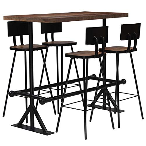 vidaXL Mobilier de Bar 5 pcs Bois de Récupération Massif Table Chaises Maison