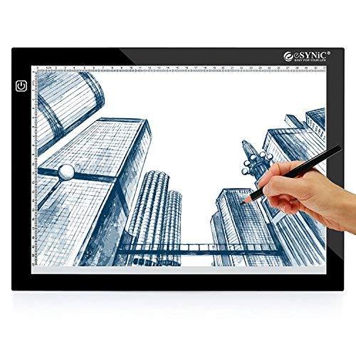 ESYNiC Tavola Luminoso Disegno A4 - Tavoletta Grafica Led per Disegnare - Light Pad Ultrasottile 8mm Tavolette grafiche con 3 Luminosità Regolabili Tavolo Pittura Alimentato da USB per Arte Aminazione