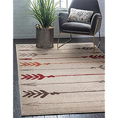 Unique Loom Autumn Collection Modern Arrows Warm Toned Beige Area Rug (5' x 8')