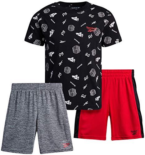 Reebok Baby Boys' Shorts Set – 3 Piece Short Sleeve T-Shirt and Shorts Playwear Set (Infant/Toddler), Size 3 Toddler, Black/Red/Heather Grey