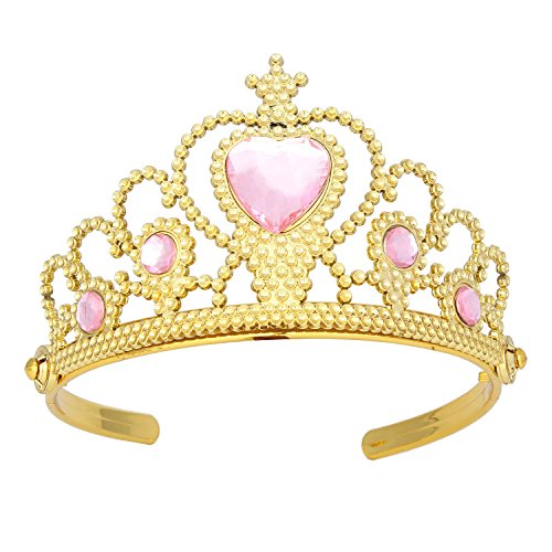 XiangGuanQianYing Tiaras and Crowns for Little Girls Plastic Gold Tiara Pink Ruby for Girls with Gift Wrap
