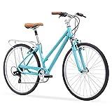 "sixthreezero Pave N  Trail Women s 7-Speed Hybrid Bike, 26"" Wheels/ 17"" Frame, Teal, 17""/One Size"