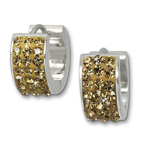 Amello Edelstahl Ohrringe Damen Creolen Bernstein Zirkonia Silber D2ESOS01Y EIN schönes Geschenk zu Weihnachten, Geburtstag, Valentinstag für die Frau