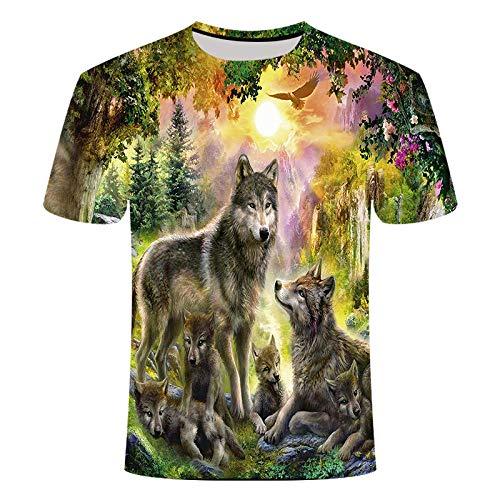 Sunofbeach Unisexe Tee Shirt Imprimé 3D Manches Courtes T-Shirts - pour Homme et Femme, Loup Animal Indien Famille,5XL