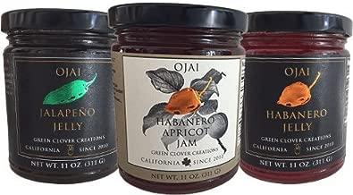 Ojai Pepper Jelly Assorted Varieties: Ojai Jalapeño Jelly, Ojai Habanero Jelly & Ojai Habanero Apricot Jam 11 oz jars (3 pack)