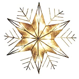 Kurt Adler 10 Light 10-inch Capiz and Wire Snowflakes with glitter treetop A fun and festive addition to your Christmas tree décor Includes 4 spare bulbs and 2 spare fuses