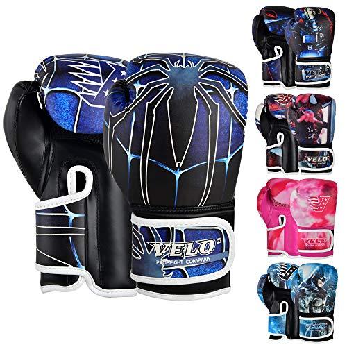 VELO Guantes de Boxeo de Entrenamiento Júnior de Muay Thai de Cuero para Niños 4oz, 6oz Guantes de Kickboxing Guantes de Boxeo para Jóvenes Focus Pads & Grip - azul araña