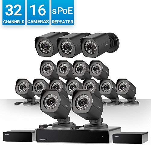 Zmodo 32 Channel HD NVR Security System 16 x IP 720P HD Outdoor/Indoor Video Surveillance Camera, w/Spoe Repeater for Flexible Installation & Extension, Customizable Motion Detection