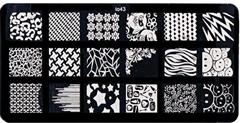 Plaque Stamping Comprenant 18 Motifs Différents Nail Art To43