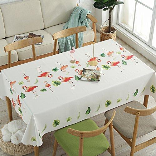 HM&DX PVC Kunststoff Tischdecken Rechteck Wasserdicht Ölfreie Abwaschbar Schmutzabweisend Tabelle Cover Tuch Protektor für Kaffee Garten esstisch-Flamingos 138x180cm(54x71inch)