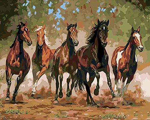 YEESAM ART Neuheiten Malen nach Zahlen Erwachsene Kinder, Fünf Pferde Laufen 40x50 cm Leinen Segeltuch, DIY ölgemälde Weihnachten Geschenke