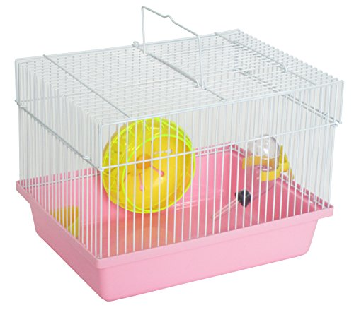 """YML Single Story Dwarf Hamster Cage with Small Wheel/Dish and Water Bottle/Plastic Base, Pink, 10.5"""" x 8"""" x 7.75"""""""