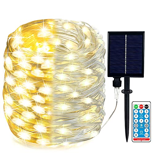 105 FT 300 LED Solar String Lights Outdoor Waterproof Solar Fairy Lights with 8 Lighting Modes, PVC Coating Heavy Duty Silver Wire Lights with Detachable Connector for Patio Yard Garden Tree Party.