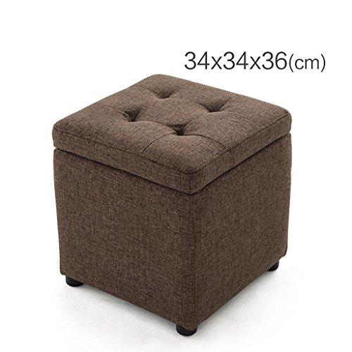 Unbekannt Rollsnownow Rot-brauner Leinen-Quadrat-Speicher-Hocker Ändern Sie den Schuh-Hocker Sofa-Hocker Niedriger Hocker-Schemel (Size : 34 * 34 * 36cm)
