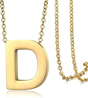 Hermah Gold Plated Stainless Steel Small Capital Initial Letter A Charm Pendant Necklace for Men Women Rolo Steel Chain 18inch Link