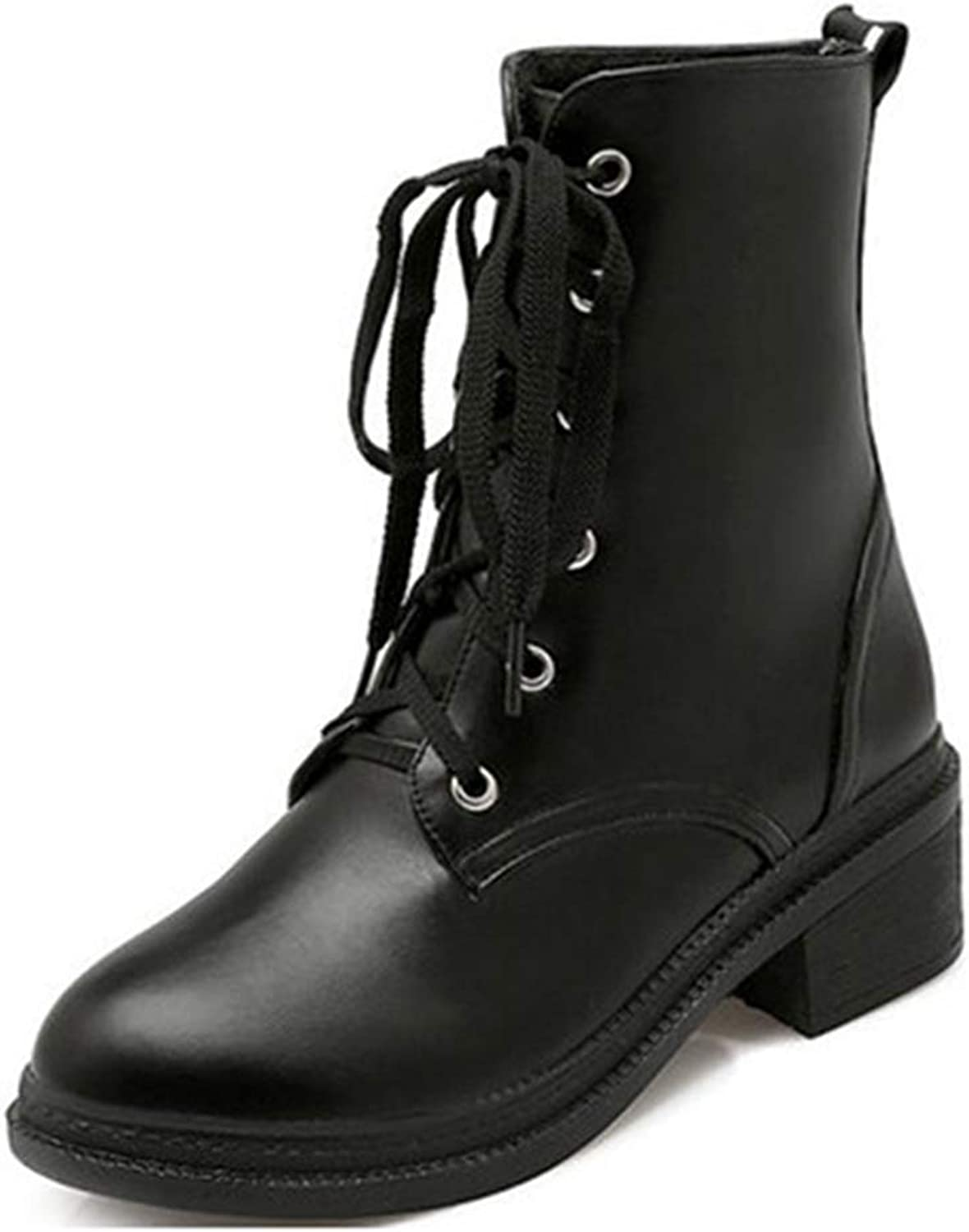 GIY Women's Round Toe Lace Up Martin Ankle Boots Fashion Platform Comfortable Bootie Mid Heel Short Boots