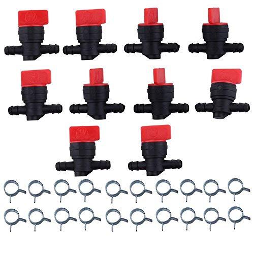 BOKIE - Lote de 10 grifos de parada de combustible cortado en línea de 1/4 pulgadas para Briggs y Stratton 493960 494768 698183 Oregon 07-406 Am36141 Am107340 Toro 54-3150 1-603770