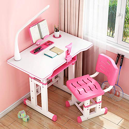 Liraly Desk and Chair Set Adjustable Combined Study Table Multifunctional School Students Writing Drawing Desk w/Lamp