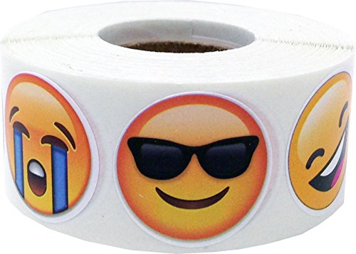Various Moods Emoji Stickers 6 Different Emoji Labels 1 Inch 500 Total Adhesive Stickers