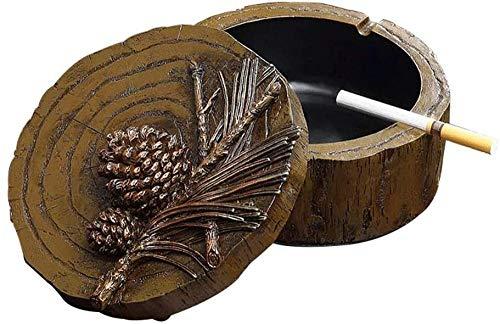Cenicero redondo de madera maciza con tapa, cenicero para cigarrillos, decoración LCNINGYHG