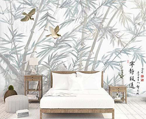 Fotomurale 3D Uccello Della Foresta Di Bambù In Stile Cinese Sfondo 3D Carta Da Parati Personalizzato Rivestimento Murale