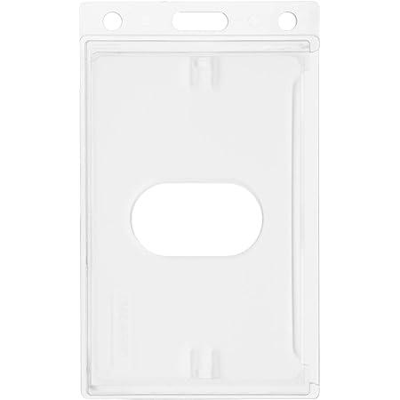 Porte-carte Karteo® avec trou oblong | Porte-badge transparent vertical | Porte-badge en plastique dur | Pochette protège-carte pour carte d'identification, badge, carte au format EC