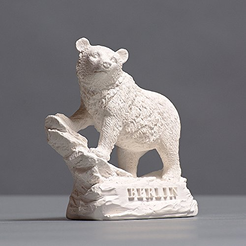 Berliner Bär auf Felsen Skulptur aus hochwertigem Zellan, echte Handarbeit Made in Germany, Figur Geschenkidee, Büste in weiß, 11cm