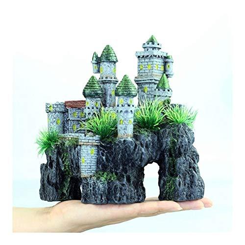 XinXinFeiEr Hermoso Creativa Ver Acuario de rocalla Ocultación del Tanque Adorno de la Cueva de Pescado decoración del árbol de Super Castillo (Color : Black)