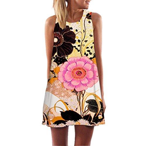 Elecenty Damen Ärmellos Sommerkleid Minikleid Strandkleid Partykleid Mädchen Blumenmuster Kleider Frauen Mode Kleid Kurz Hemdkleid Reizvolle Blusekleid Kleidung Cocktailkleid (S, Gelber 73)