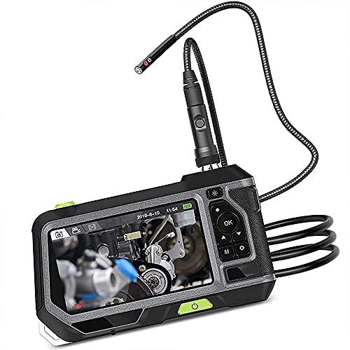 7.6mm Cámara de 5 Pulgadas Pantalla LCD Endoscopio Industrial 1080P HD Video de Mano Boroscopio con 4 LED Ajustables,1M