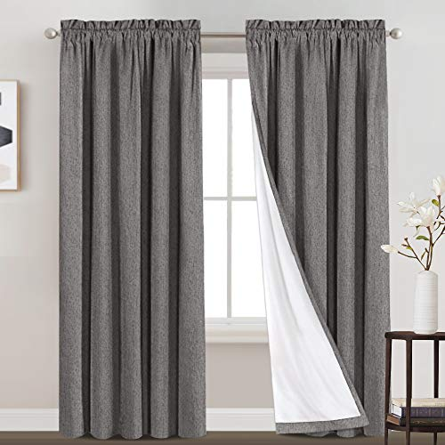 100% Blackout Curtains for Living Room Rod Pocket Drapes Primitive Linen Look Blackout Curtain with Liner Waterproof Window Curtains for Bedroom Thermal Insulated Drapes 2 Panels (52 x 95 Inch, Grey)