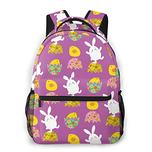Lawenp Fashion Unisex Backpack Purple Easter Bunny Chicks Pattern Bookbag Lightweight Laptop Bag for School Travel Outdoor Camping