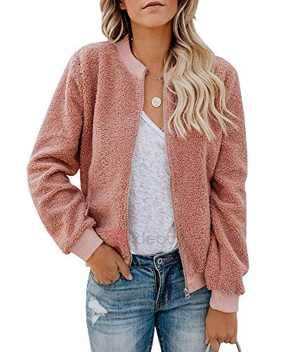 Rvshilfy Women Fleece Fuzzy Jacket Long Sleeve Faux Sherpa Casual Zip Up Bomber Coat Pocket (Small, Pink)