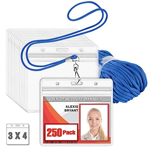 MIFFLIN Lanyard with Clear Horizontal ID Holder (Blue, 3x4 Inch, 250 PK), Name Tag with Lanyard Set