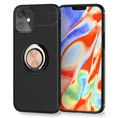 Kaliroo Ring Cover Compatible con iPhone 12 | iPhone 12 Pro Funda, Cubierta Silicona con Anillo Giratorio Rotacion 360-Grados, Kickstand Case, Soporte Magnetico Movil Coche - Negro, Color:Oro Rosa