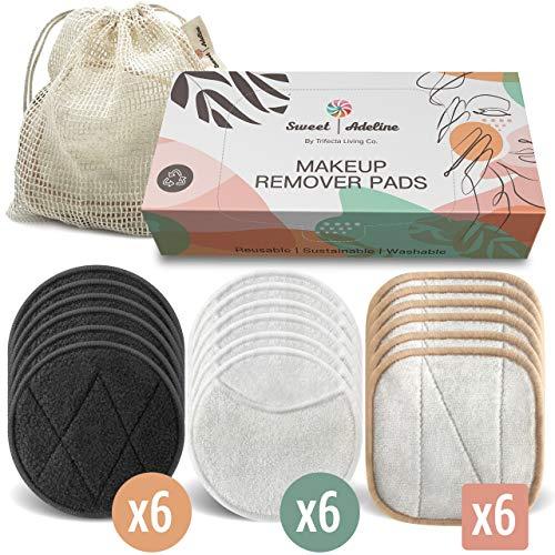 SWEET ADELINE Reusable Makeup Remover Pads - (18 pcs + Laundry Bag) Reusable Face Pads, Reusable Cotton Rounds for Toner, Washable Facial Pad, Organic Bamboo Cotton Face Pads, Reusable Facial Rounds