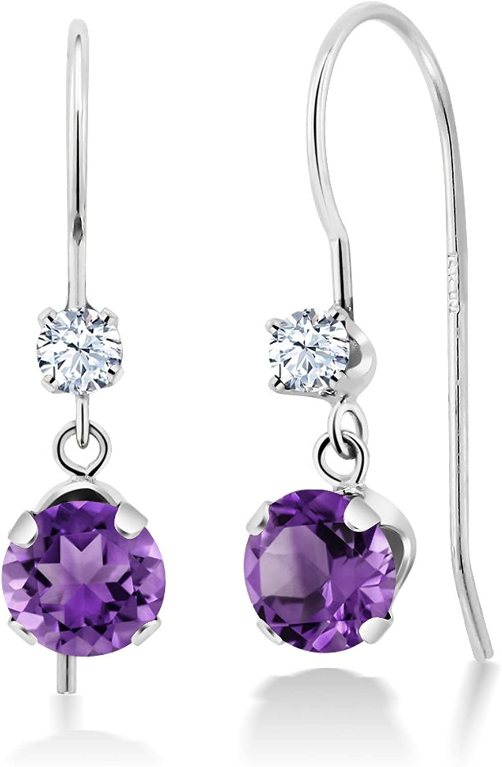 1.00 Ct Round Purple Amethyst 14K White gold Earrings