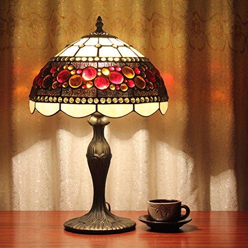 12-Zoll-Weinlese-Pastoral Glasmalerei Amerikanischer-Stil Tischlampe Schlafzimmer Lampe Nachttischlampe