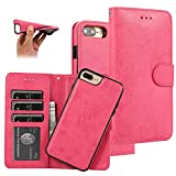 Étui portefeuille pour iPhone 7 Plus, magnétique et détachable en cuir PU pour iPhone 7 Plus,...