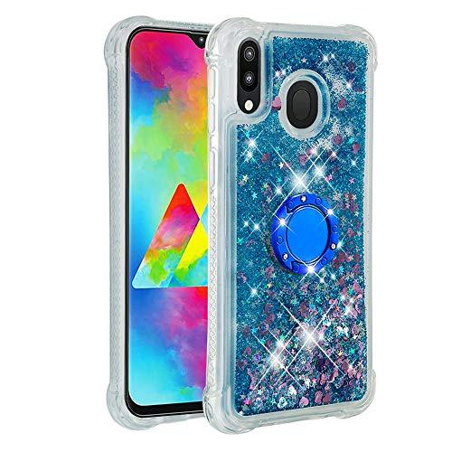 Hülle für Samsung Galaxy M20 Diamant Ring Flüssig Treibsand Silikon TPU Bumper Hülle für Samsung Galaxy M20(Blaue Liebe)